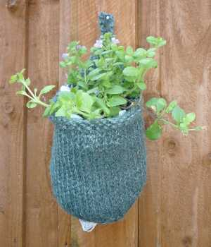 Hanging Basket, a hand-knitted plant holder